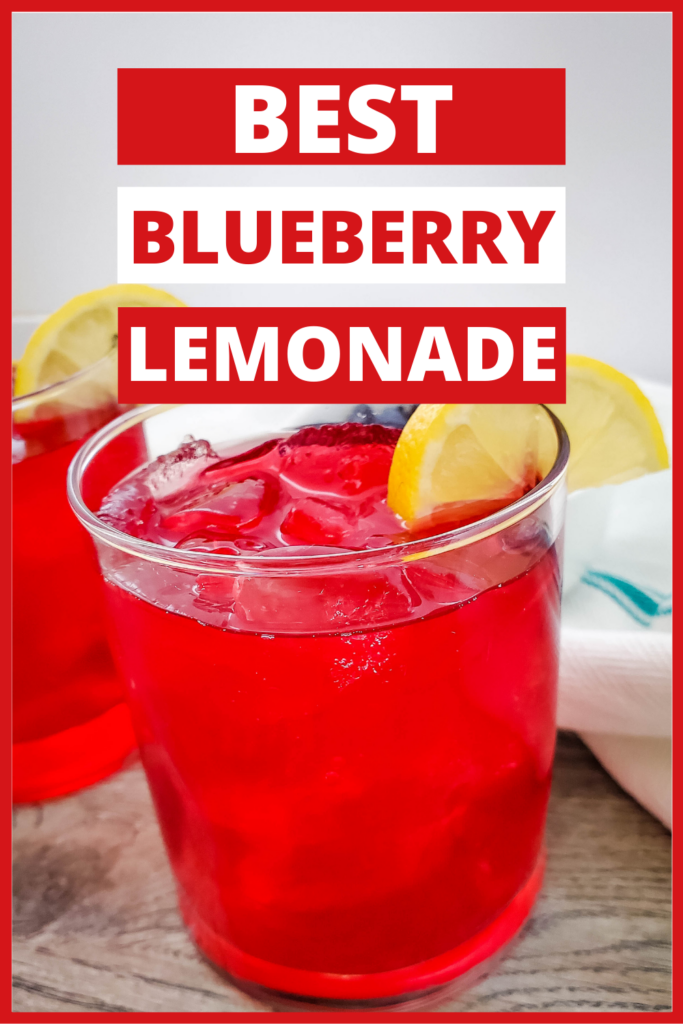 pin showing the blueberry lemonade recipe ready to drink.