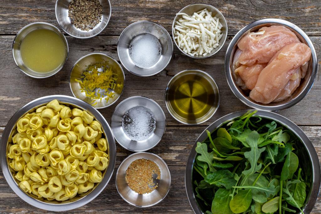 Ingredients needed for lemon chicken tortellini salad recipe