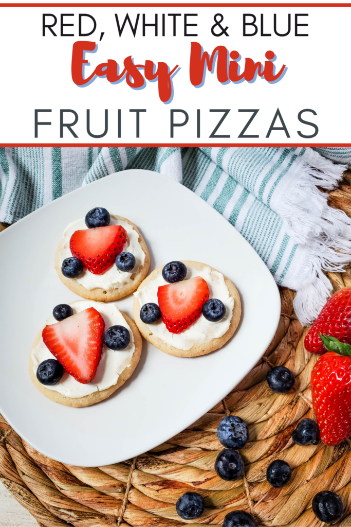 Pin showing the finished fruit pizza dessert ready to serve with title across the top.