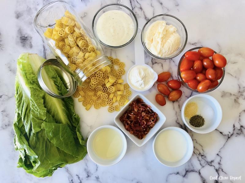 Ingredients needed to make BLT pasta salad recipe.