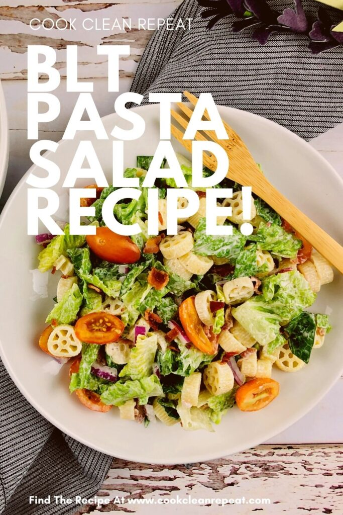 Pin showing the finished BLT pasta salad recipe