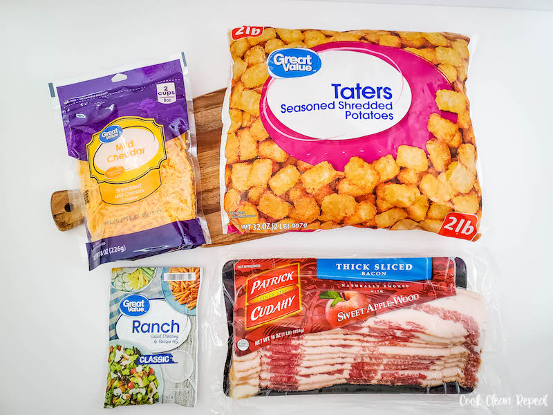 ingredients needed to make this crockpot cheesy tater tot casserole recipe before we start cooking.