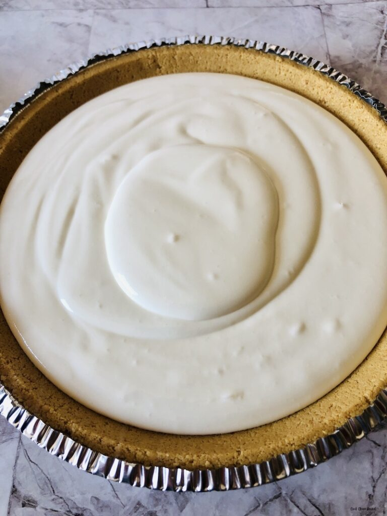 Frozen pie ready to be topped.