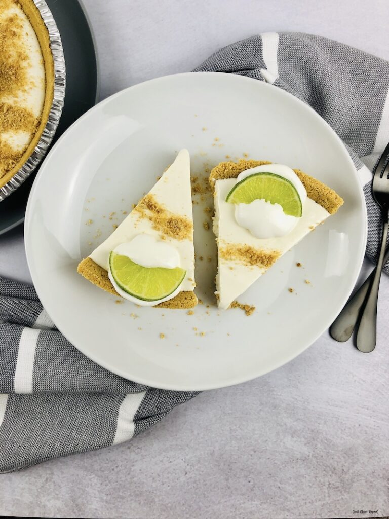 Finished easy no bake key lime pie ready to eat.