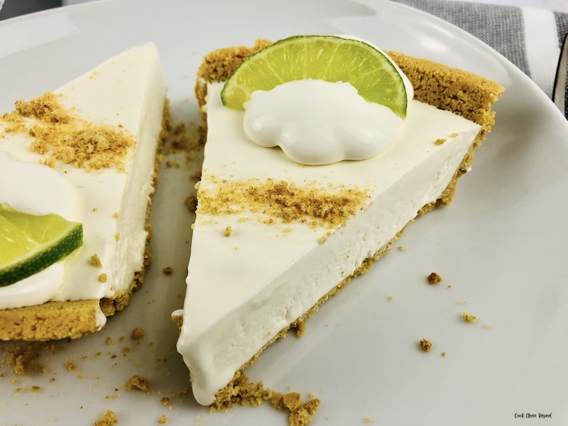 A close up look at two slices of the finished easy no bake key lime pie recipe.