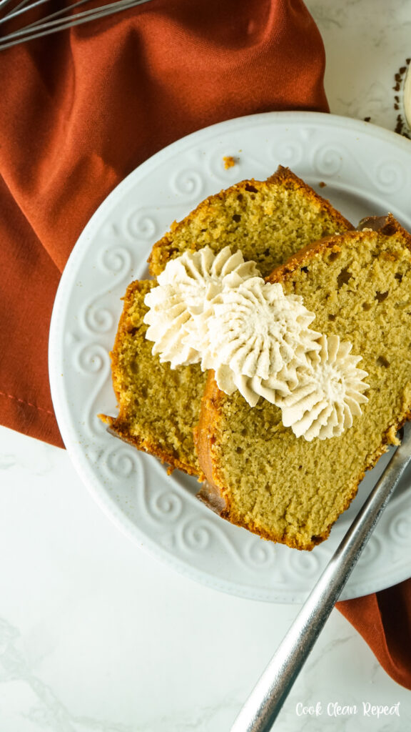 Coffee whipped cream on slices of pumpkin bread.