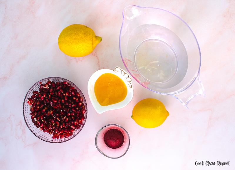 Ingredients needed to make pink lemonade at home.