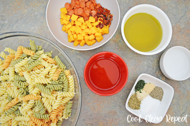 All the ingredients needed to make the Italian pasta salad with pepperoni ready to be combined!