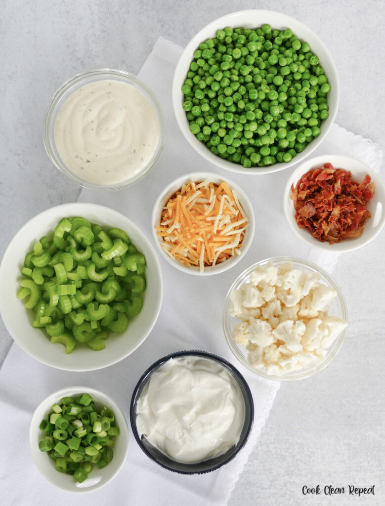 ingredients for pea salad with ranch dressing.