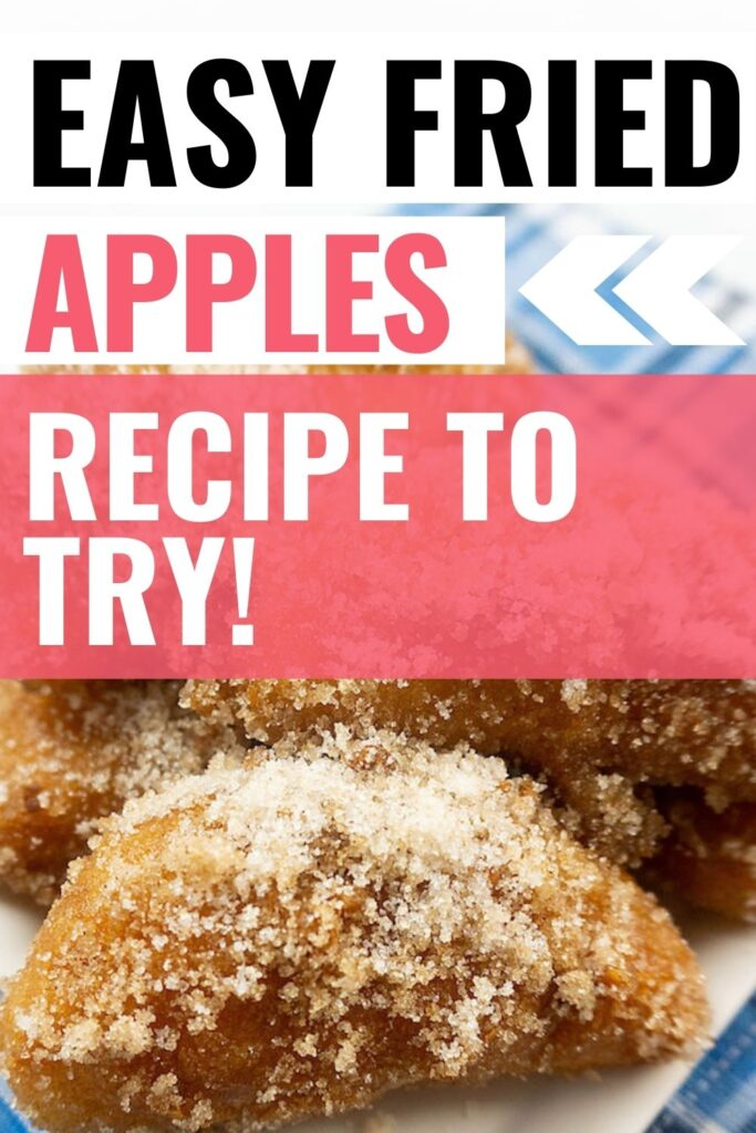 Pin showing the finished fried apples recipe ready to eat with title across the top.