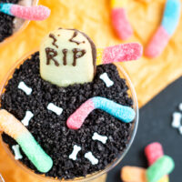 A look at the finished halloween dirt pudding cups.