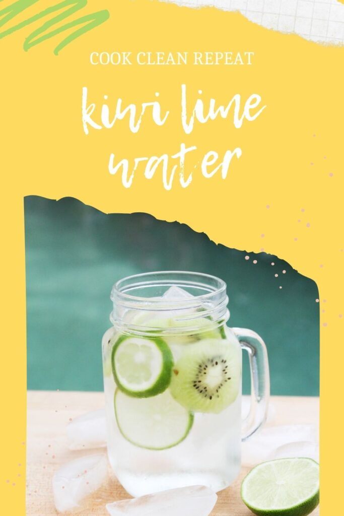 Pin showing the finished kiwi lime water recipe ready to enjoy.