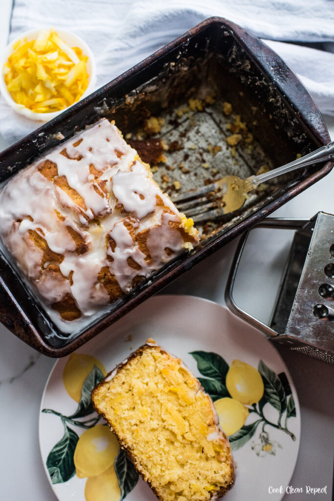 A top down look at the pan of finished lemon squash bread read to serve and share.