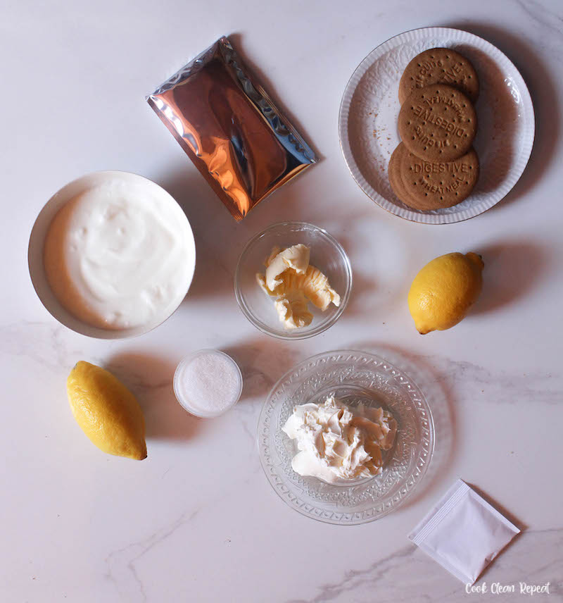Ingredients needed to make no bake lemon cheesecake.