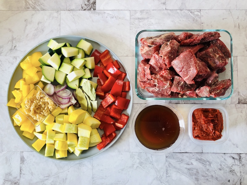 Ingredients prepped and ready to be cooked up into a delicious summer squash stew.