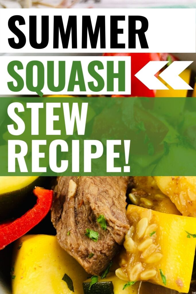 Pin image showing the summer squash stew recipe finished and ready to eat with title across the top.