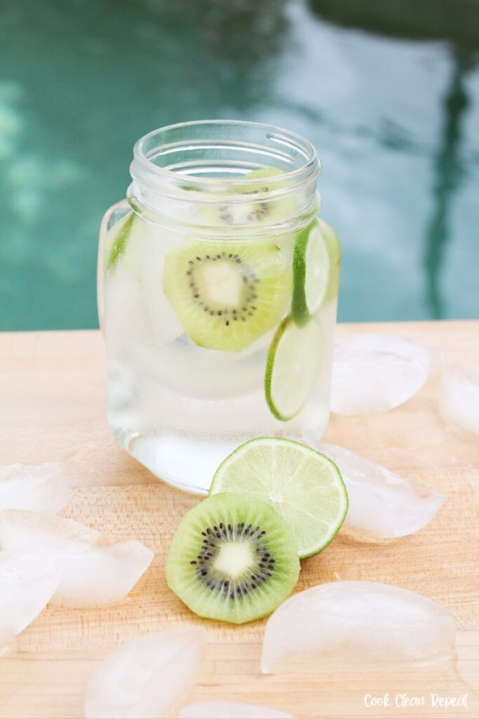 Finished kiwi lime water recipe ready to drink