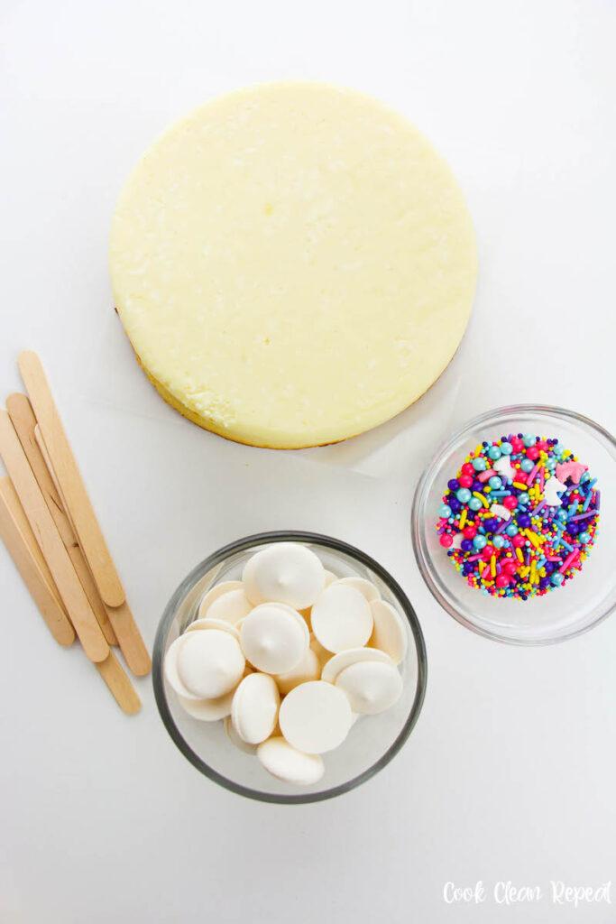 ingredients needed to make delicious unicorn cheesecakes