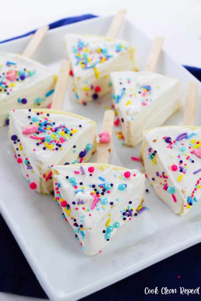 some slices of unicorn cheesecake ready to share.