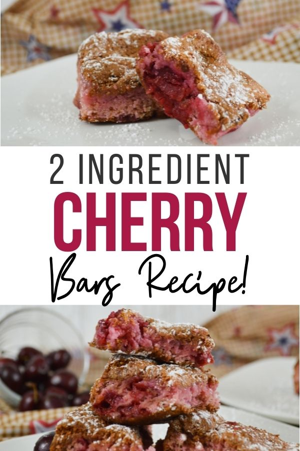 Pin showing the finished 2 ingredient cherry bars ready to eat with title across the middle. q