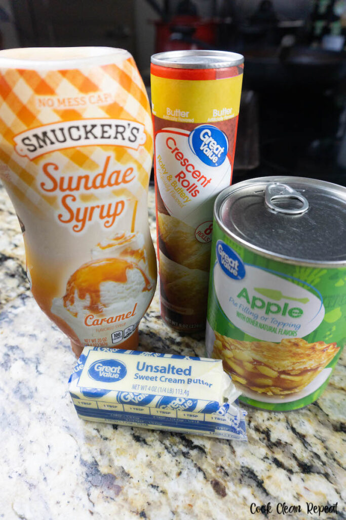 Ingredients needed to make apple pie roll ups ready to enjoy.