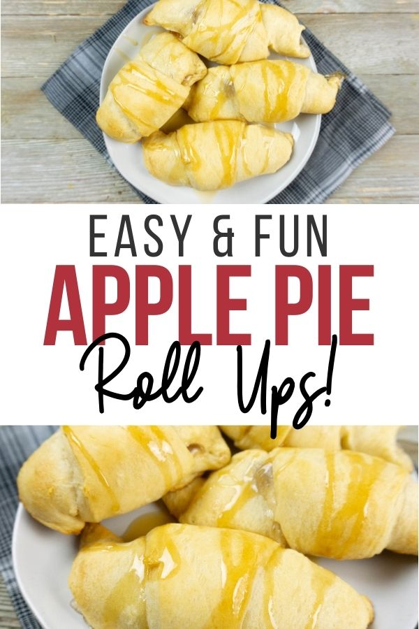 Pin showing the finished apple pie roll ups ready to be served.
