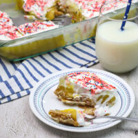 featured image showing the finished no bake vanilla pudding cake ready to eat.
