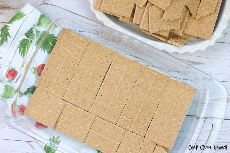 graham cracker base layer in the casserole dish.