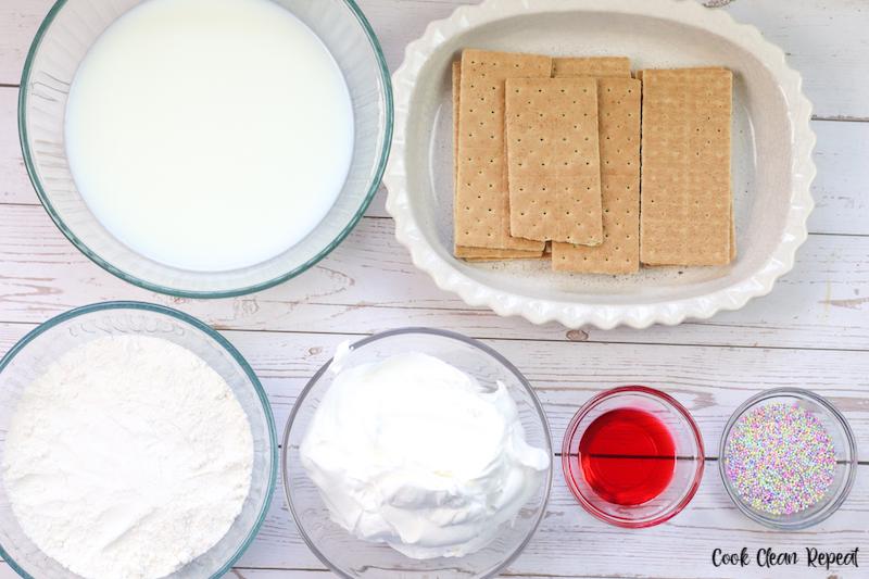 ingredients needed to make no bake vanilla pudding cake.