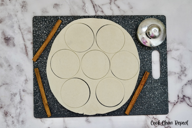 pie circles cut out ready to be filled.