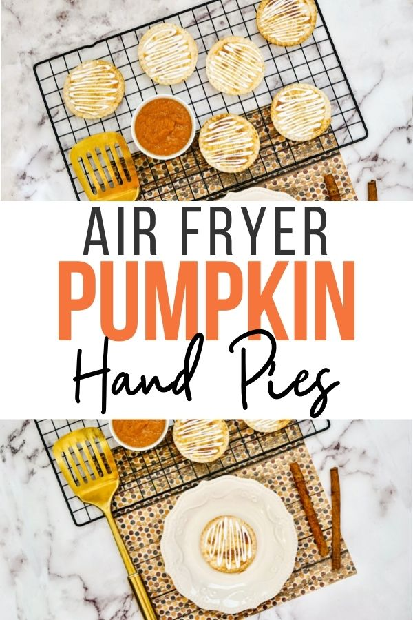 Pin showing the finished pumpkin hand pies ready to eat with title across the middle.