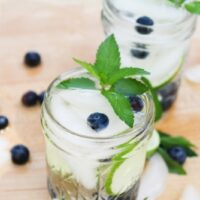 Featured image showing the finished blueberry lime mint infused water recipe ready to enjoy.