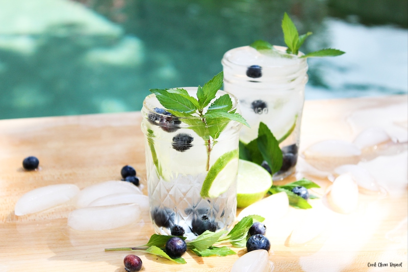 a look at the finished blueberry lime infused water ready to drink.