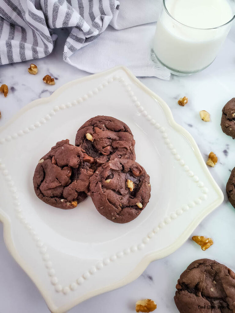 a close up look at the finished chocolate walnut cake mix cookies ready to eat.