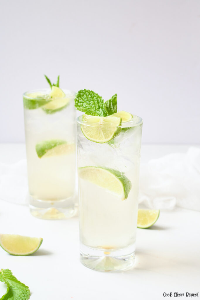 Finished mint lime sparkling water ready to drink.