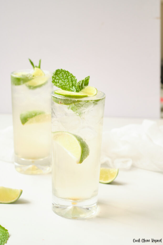 Finished mint lime sparkling water recipe ready to drink.