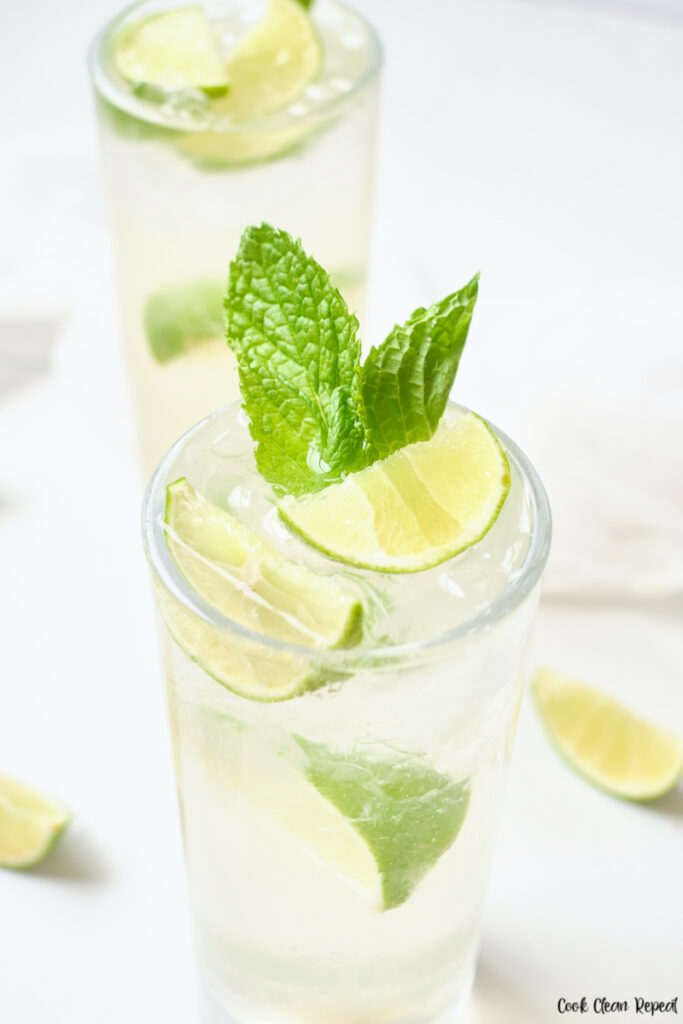 A close up view of the finished mint lime sparkling water recipe ready to enjoy.