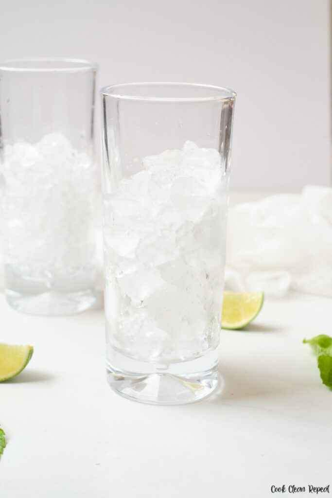 ice in glasses.