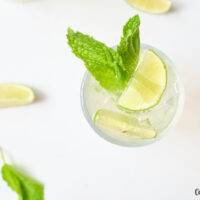Featured image showing the finished mint lime sparkling water recipe ready to drink
