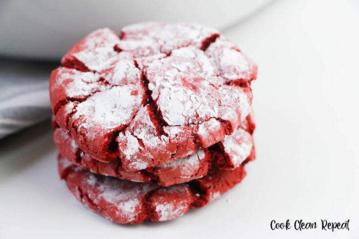 featured image showing the finished red velvet cake mix cookies ready to eat.
