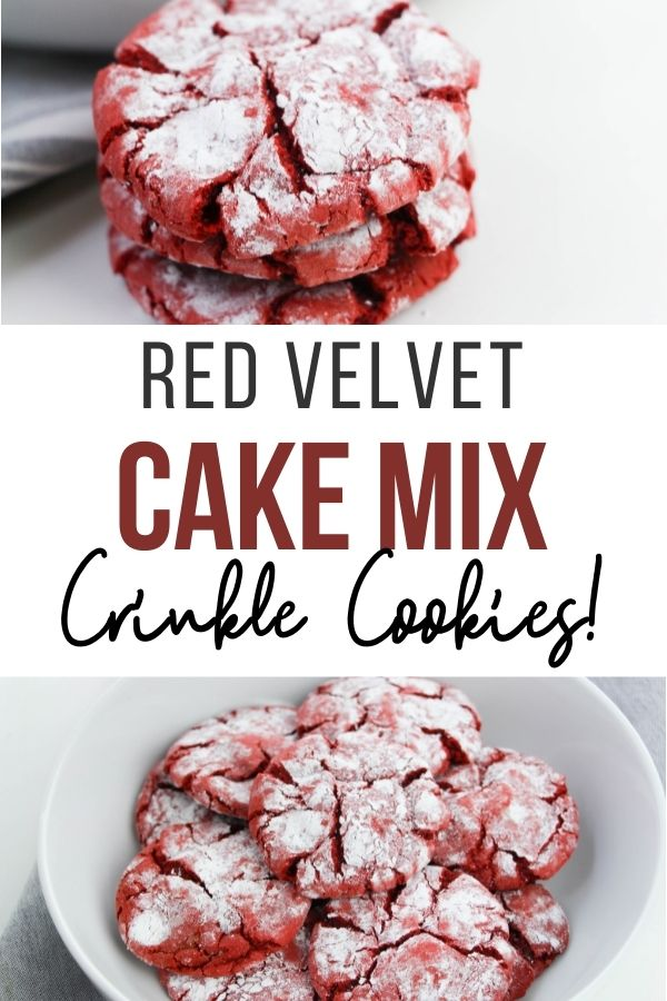 pin showing the finished red velvet crinkles cookies ready to eat.